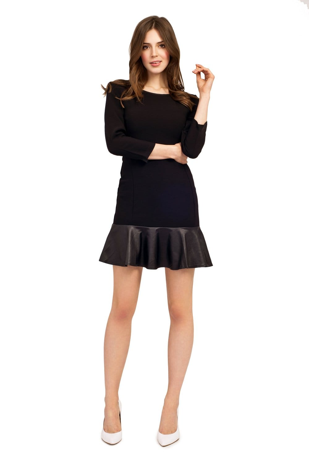 Black Long Sleeve Dress With Pu Flared Skirt