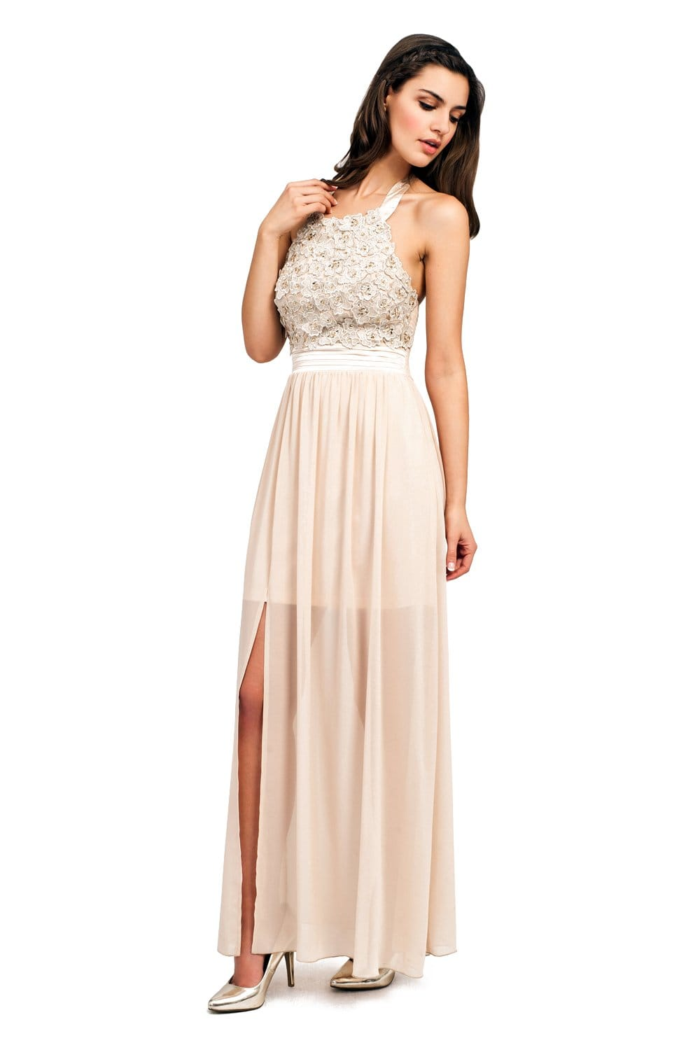 Cream Floral Applique Halterneck Maxi Dress