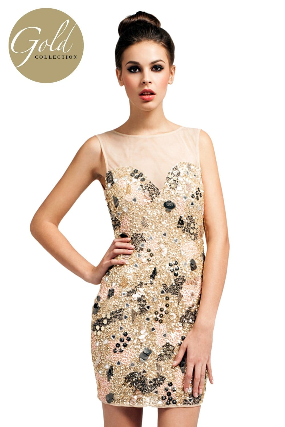 Cream Sleeveless Heavily Embellished Sequin Bodycon Dress