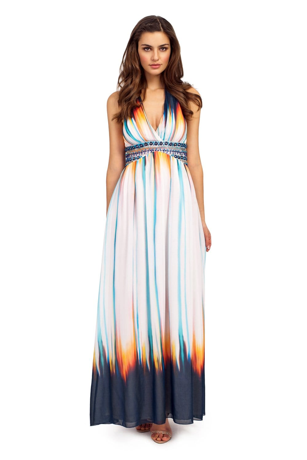 White & Multi Colour Stripe Print Embellished Halterneck Maxi Dress