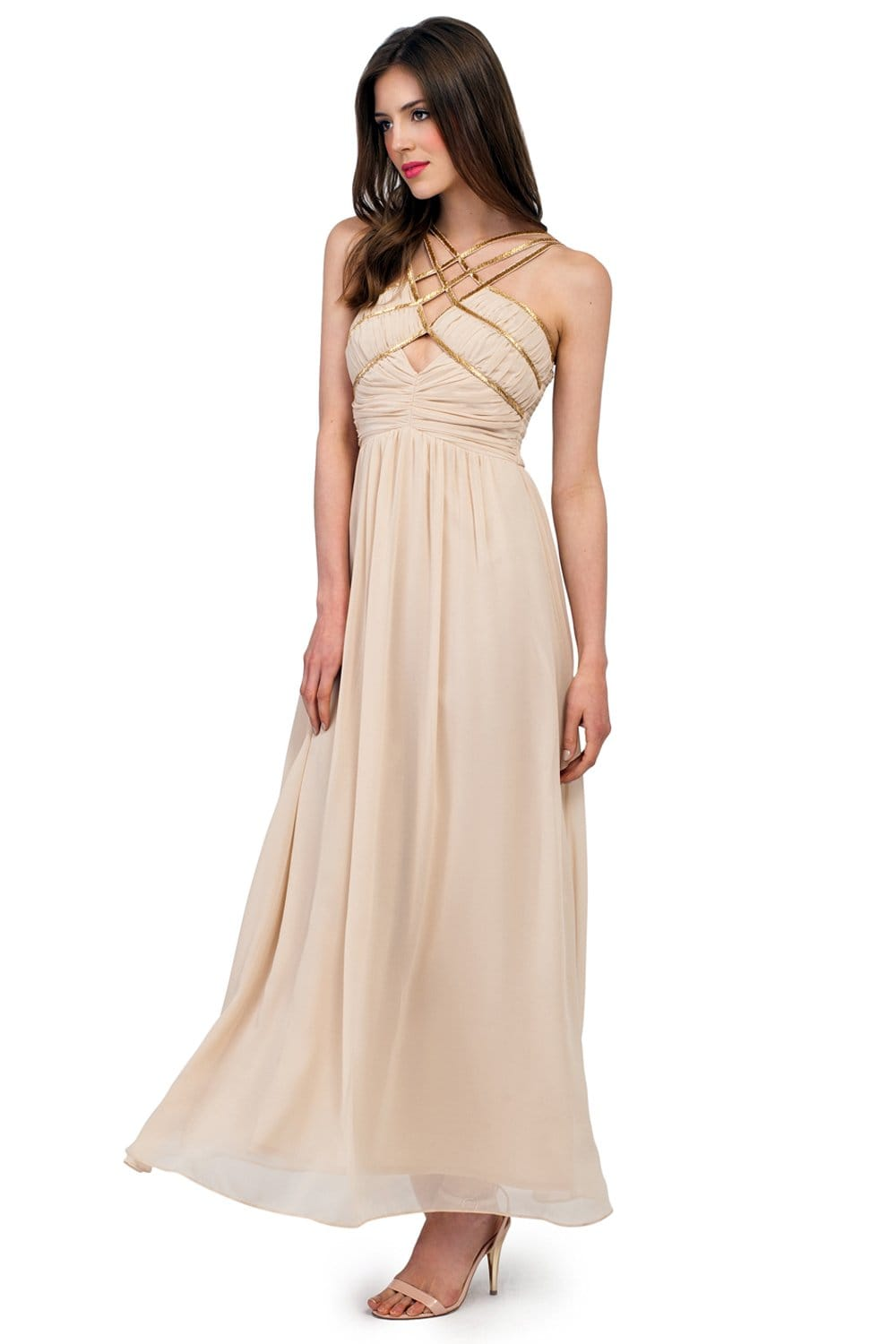 Cream Embellished Cutout Chiffon Maxi Dress