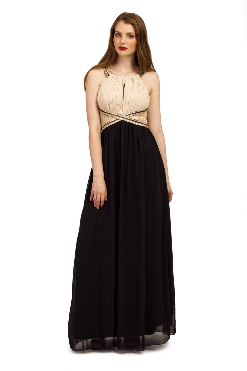 This classic black chiffon dress features a classic neckline and a beautiful flowy skirt. Pair with our skinny gold metal belt to complete the look.