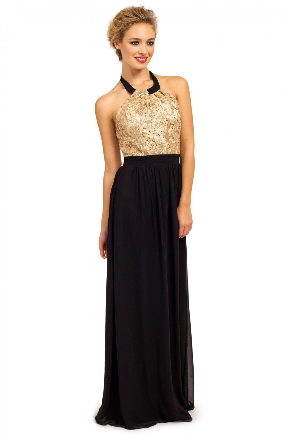Gold & Black Heavily Embellished Chiffon Halterneck Maxi Dress
