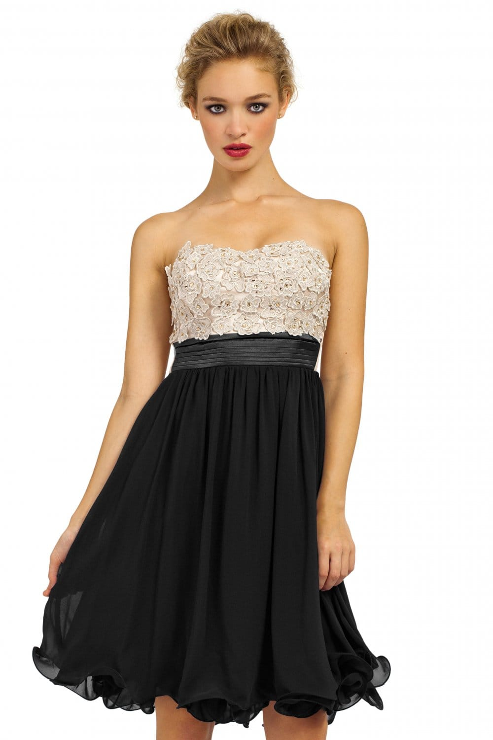 Cream & Black Embellished Floral Applique Chiffon Prom Dress
