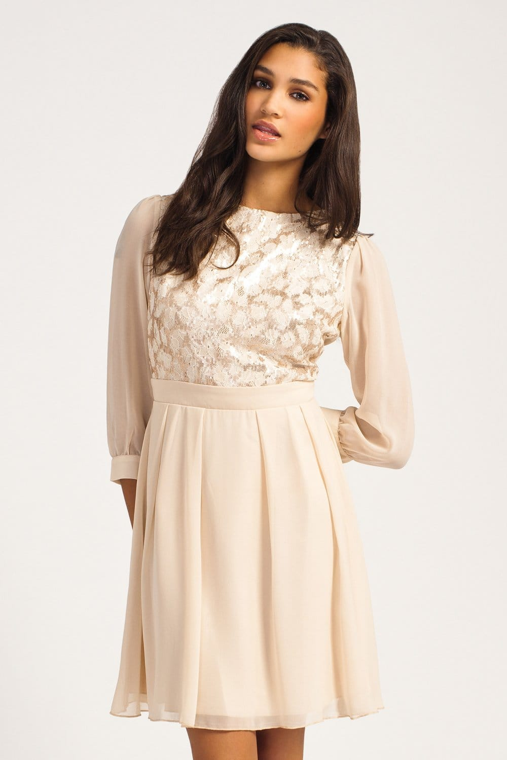 Cream &amp Gold Lace Sequin Embellished Dress