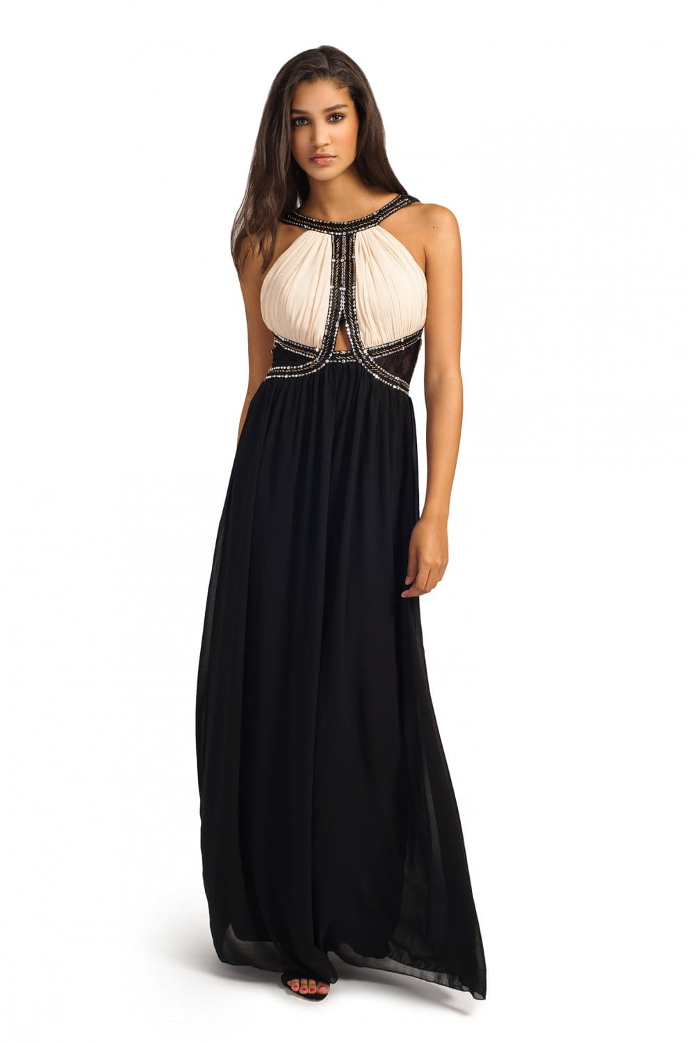 Cream And Black Embellished Cutout Detail Maxi Dress