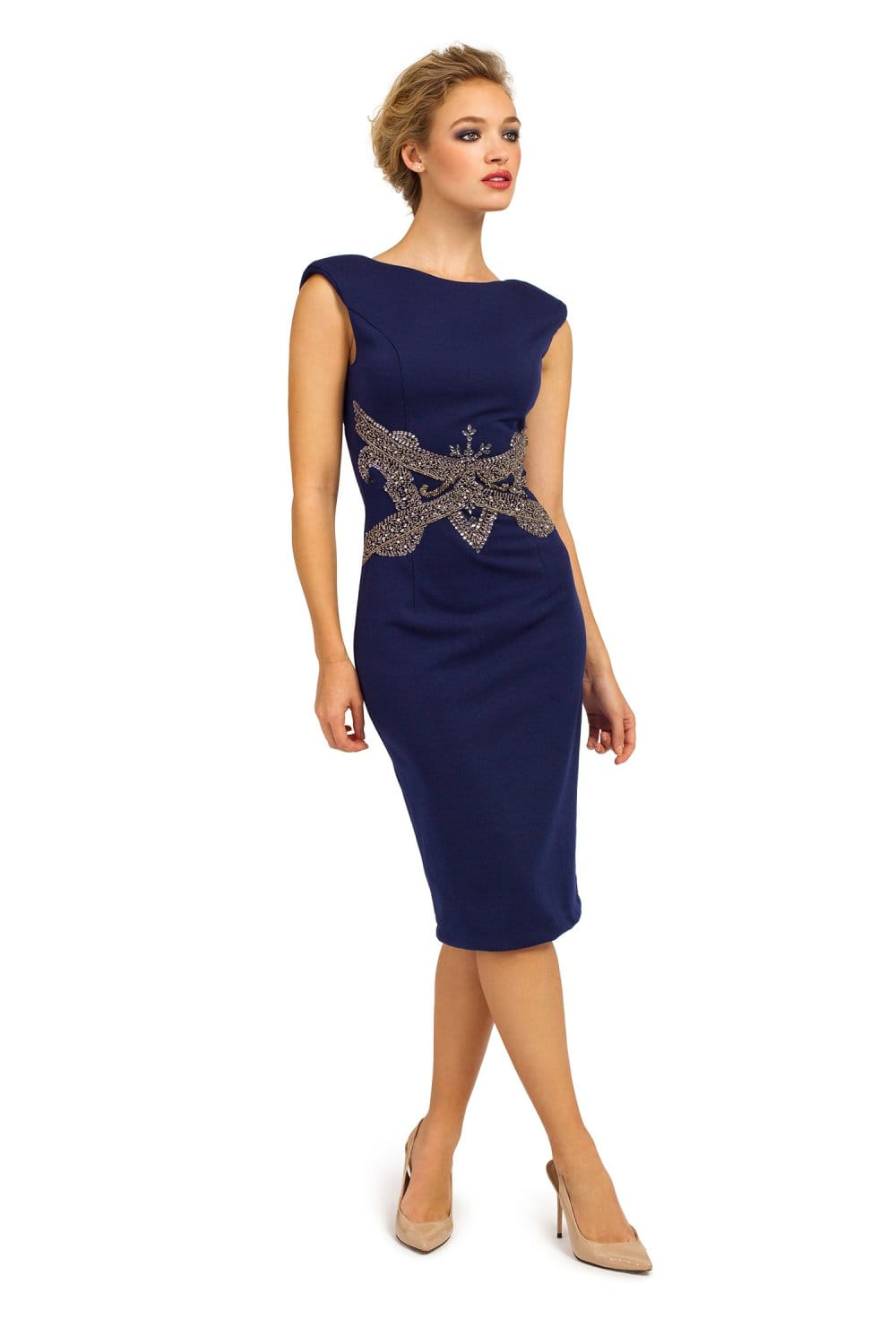 Navy Sleeveless Embellished Waist V Back Bodycon Dress
