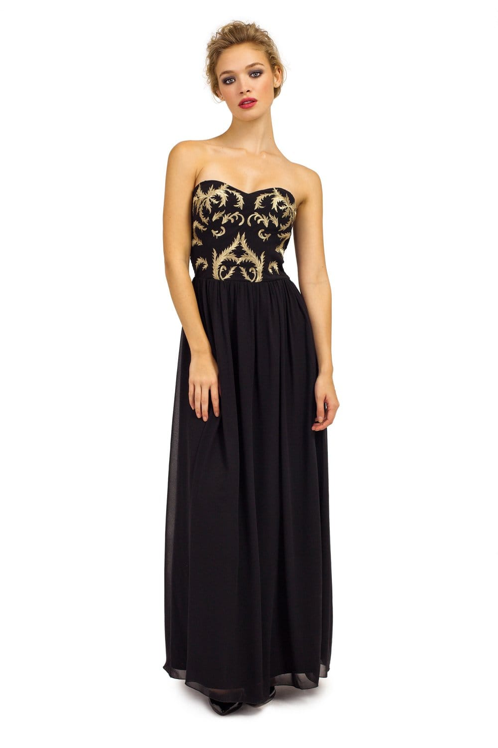 Black & Gold Embroidered Bandeau Chiffon Maxi Dress