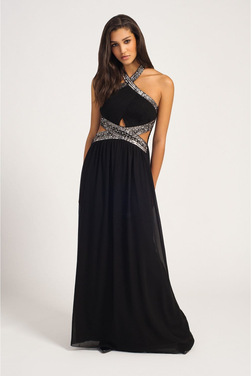 Black Embellished Keyhole Waist Halterneck Chiffon Maxi Dress