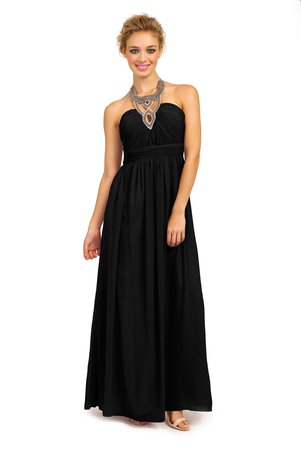 Black Heavily Embellished Halterneck Chiffon Maxi Dress