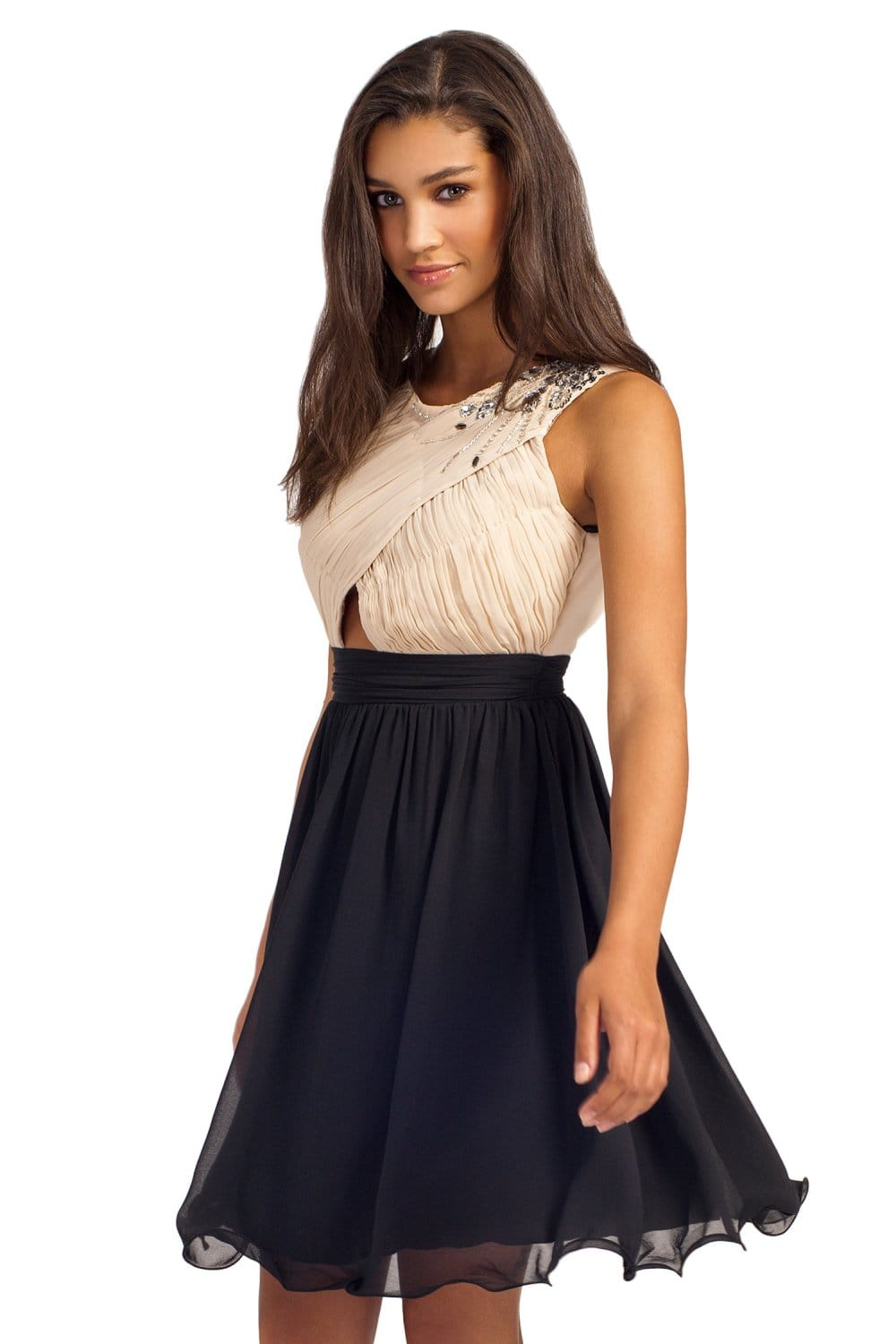Cream & Black Sleeveless Embellished Pleated Prom Dress