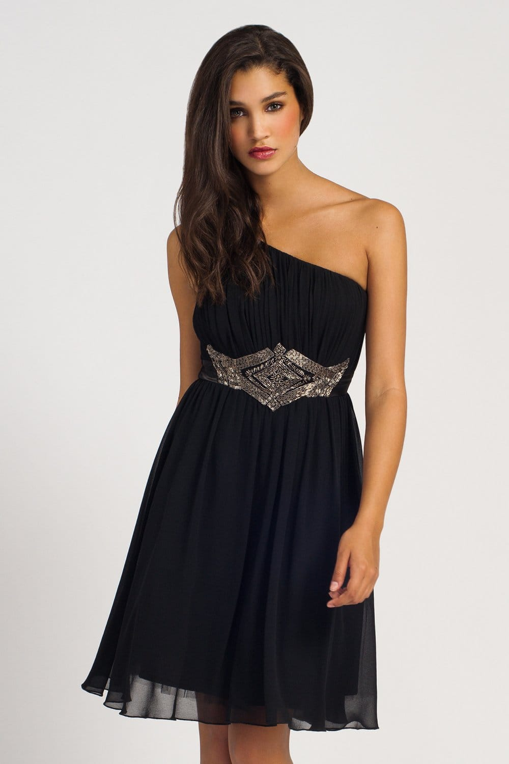 Black One Shoulder Pleated Embellished Waist Prom Dress