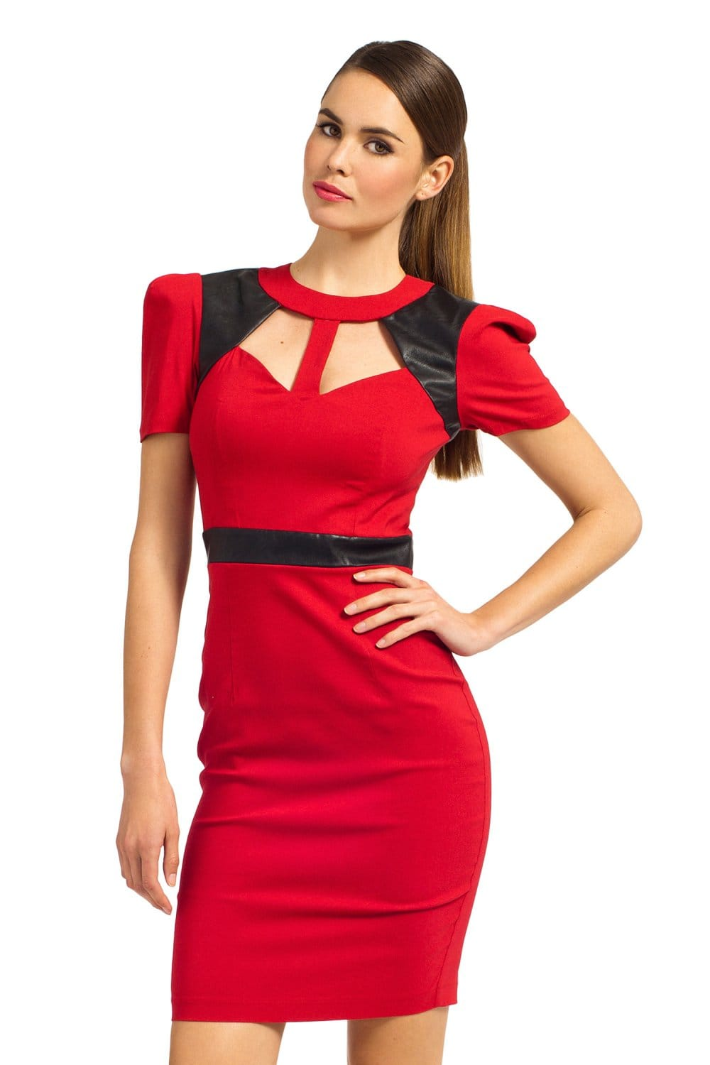 Red Amp Black Puff Sleeve Pu Keyhole Detail Bodycon Dress