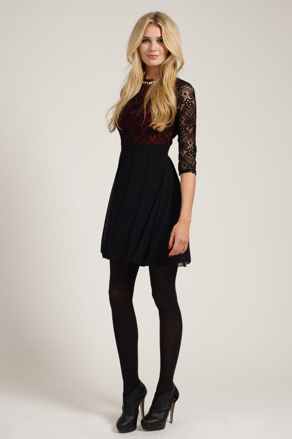Black Amp Berry Lace Detail Long Sleeve Skater Dress