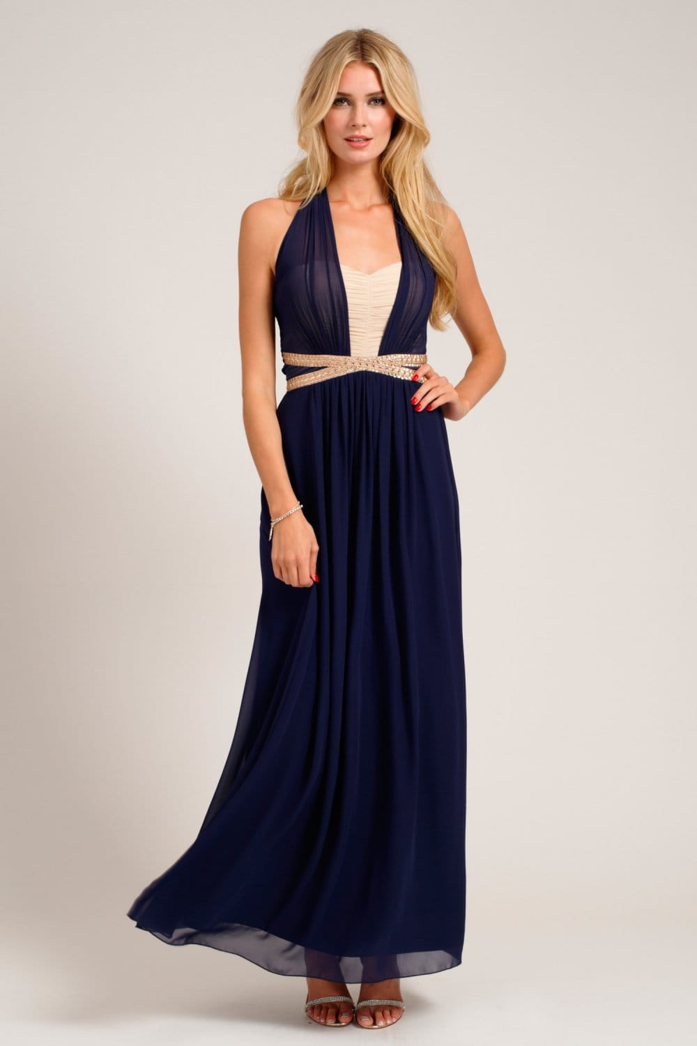 Navy & Cream Embellished Halterneck Chiffon Maxi Dress
