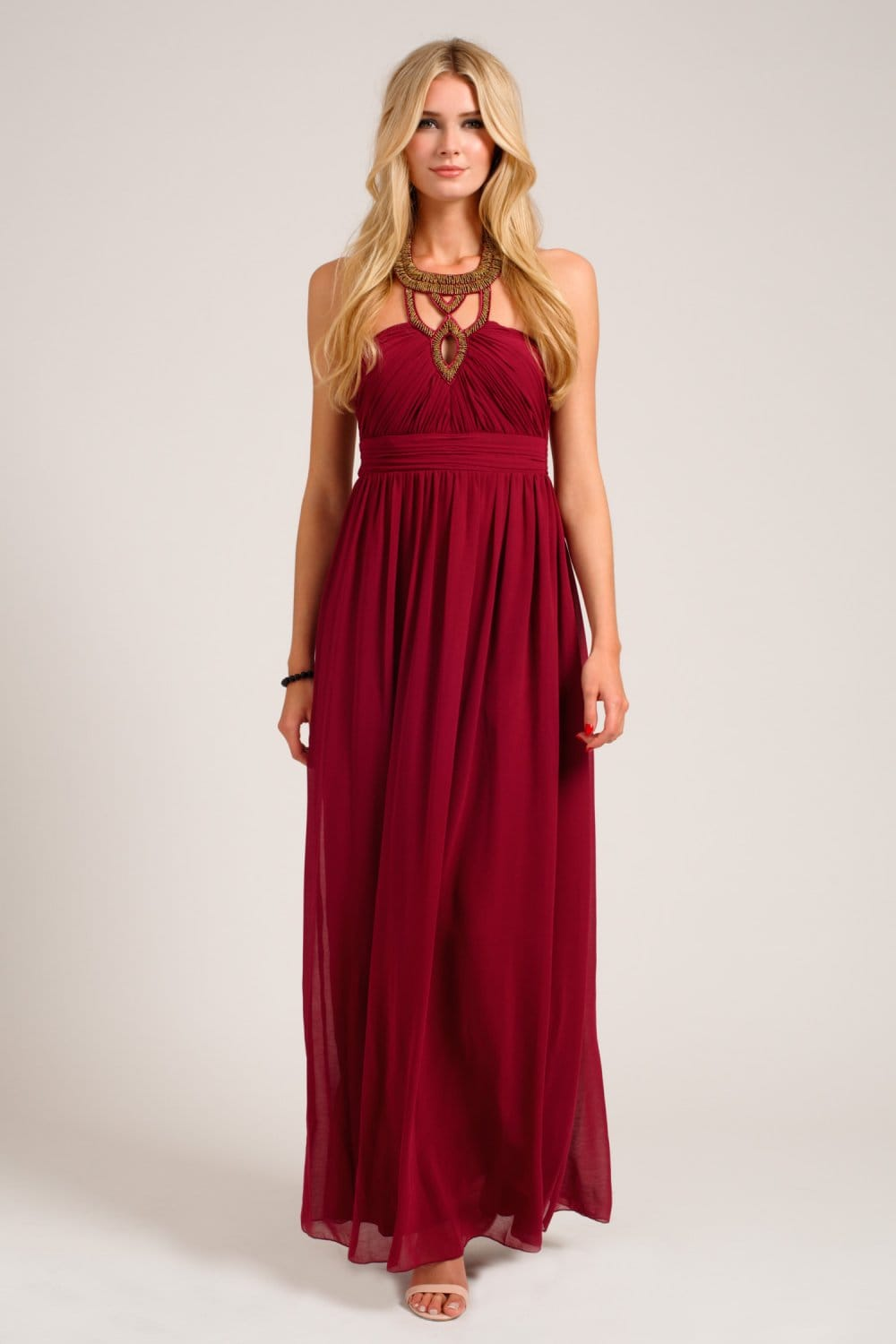 Mulberry Heavily Embellished Halterneck Chiffon Maxi Dress