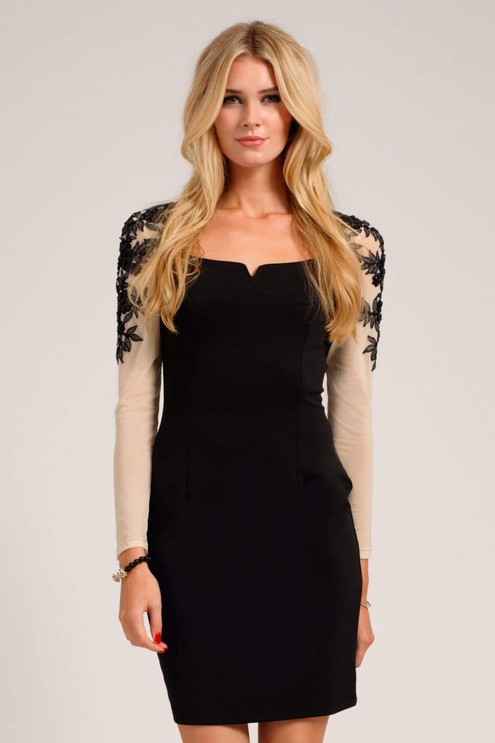 Black & Cream Embellished Floral Applique Long Sleeve Bodycon Dress