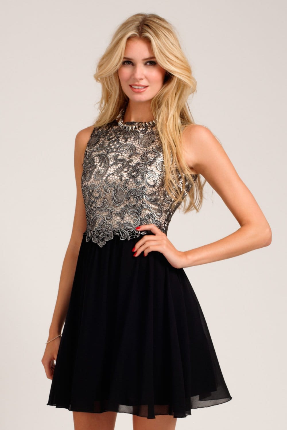 Silver Amp Black Metallic Lace Overlay Skater Dress