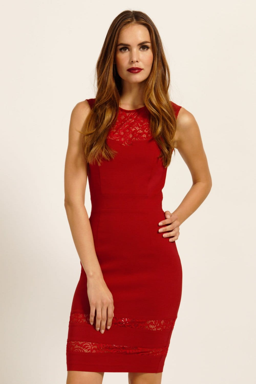 Red Lace Insert Asymmetric Sweetheart Neckline Bodycon Dress