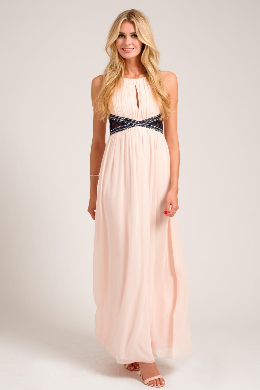 Nude Embellished Lace Panel Detail Maxi Dress