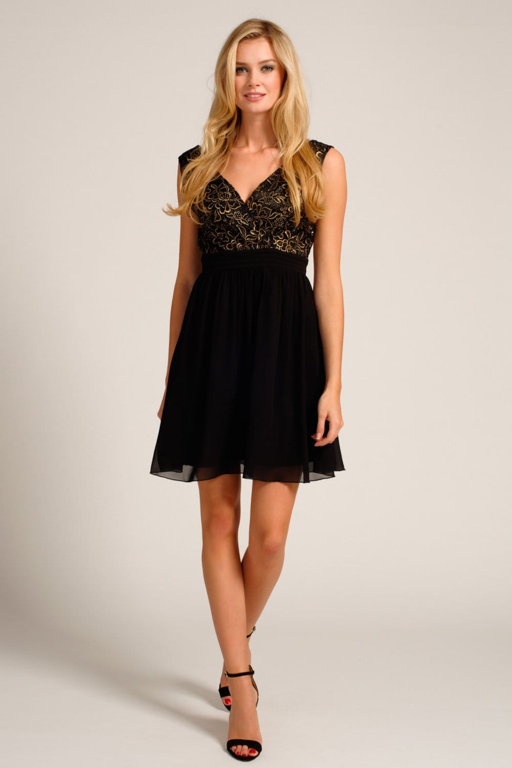Black And Gold Lace Detail Cross Over Skater Dress