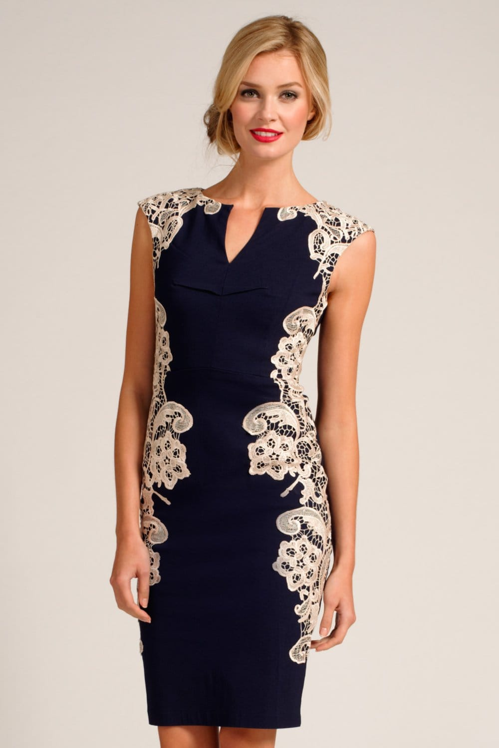 Navy And Cream Crochet Lace Panel Dress