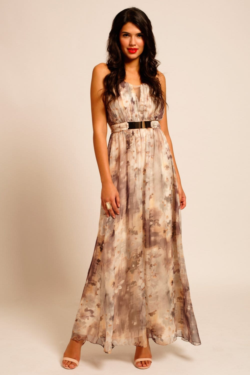 Floral Print Bar Belt Detail Chiffon Bandeau Maxi Dress