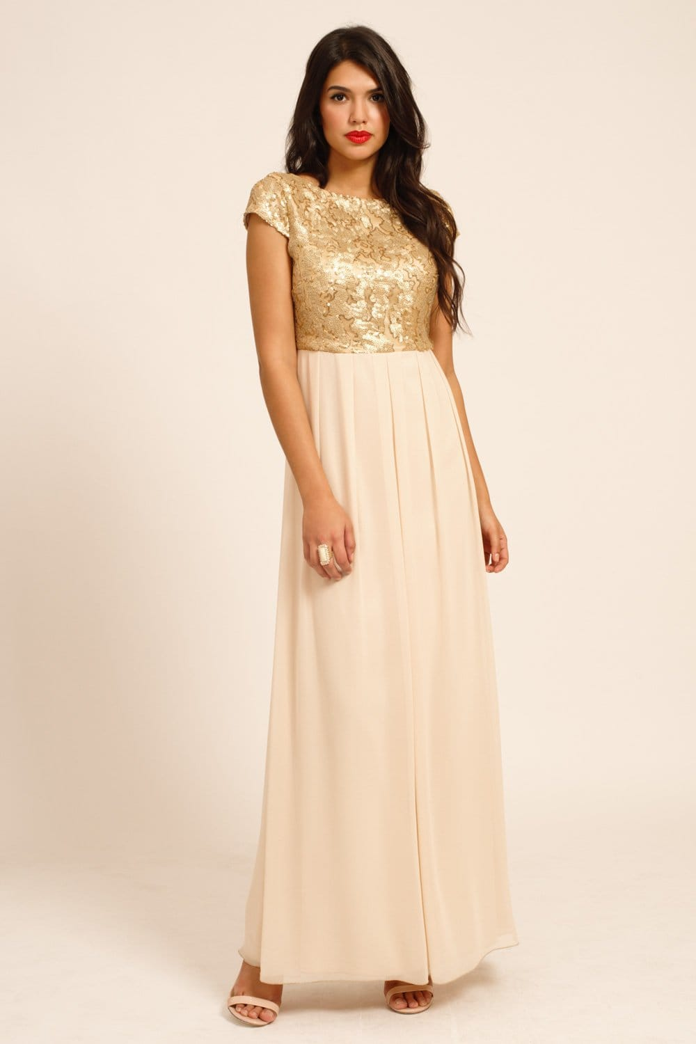 Gold Amp Cream Heavily Embellished Cap Sleeve Maxi Dress