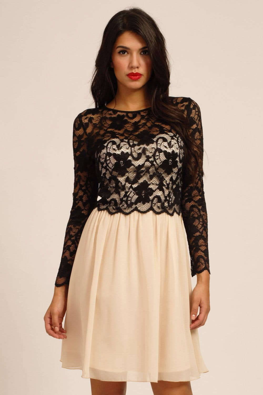 black amp cream floral lace detail long sleeve dress
