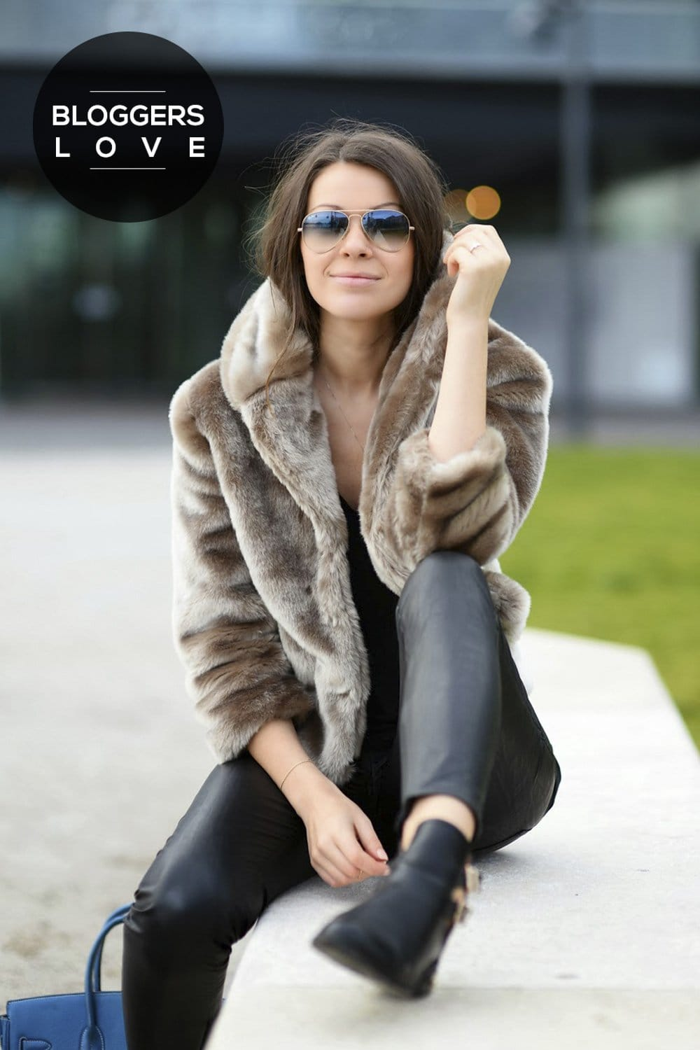 Mocha Short Textured Long Sleeve Fur Jacket