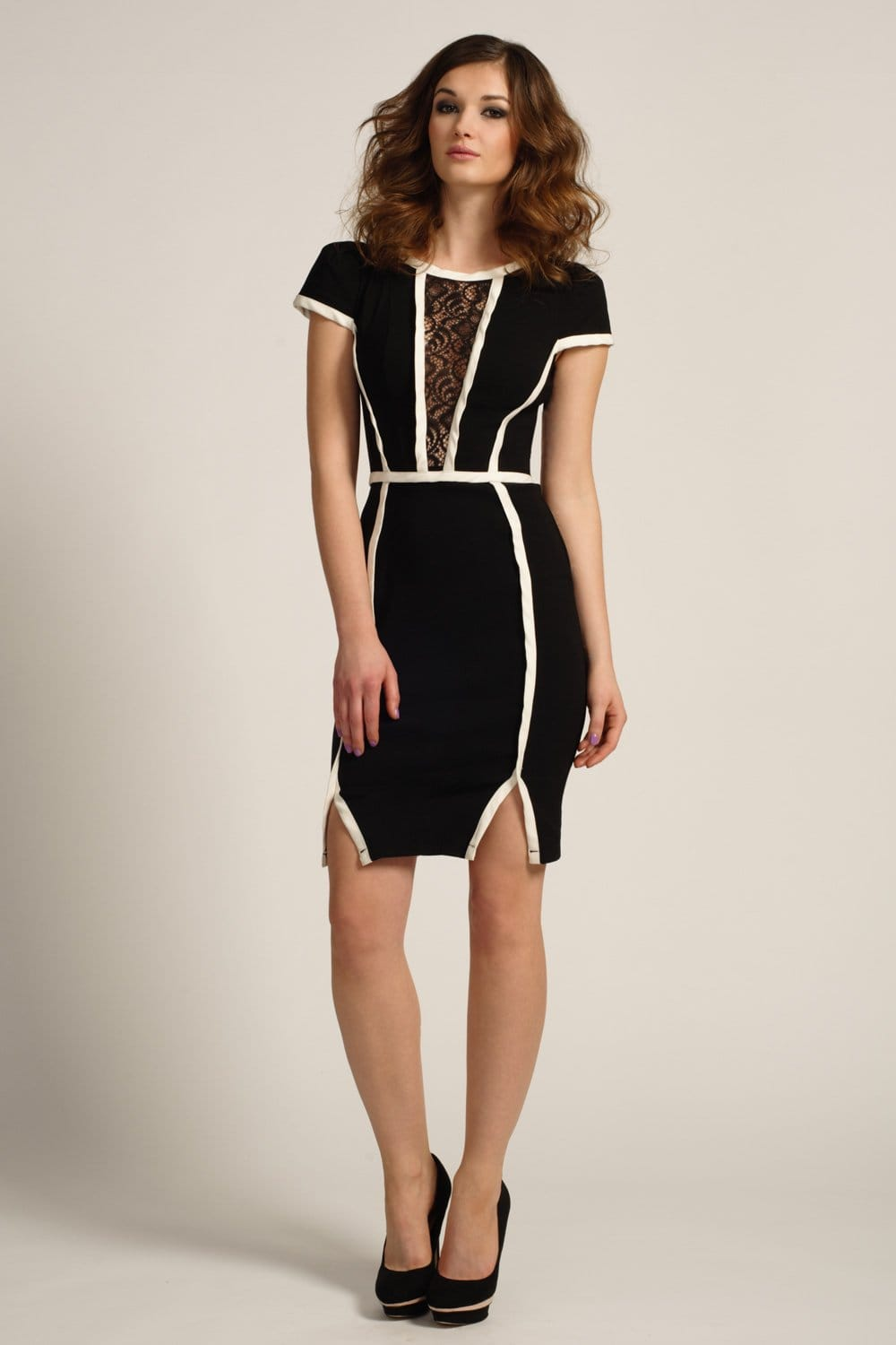 Black Amp Cream Lace Panel Piping Detail Bodycon Dress