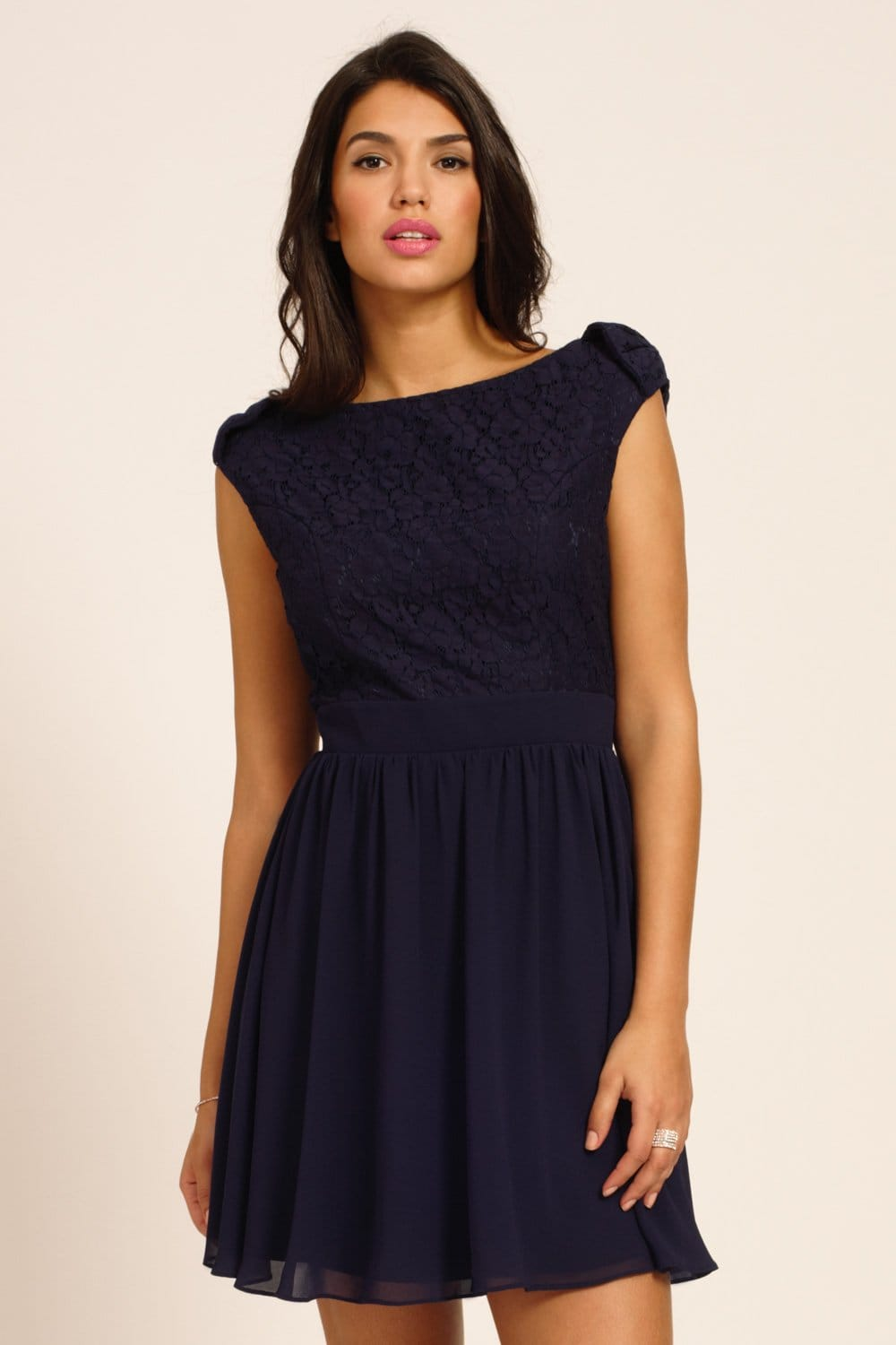 Navy Lace Detail Drop Bow Sleeve Fit And Flare Dress