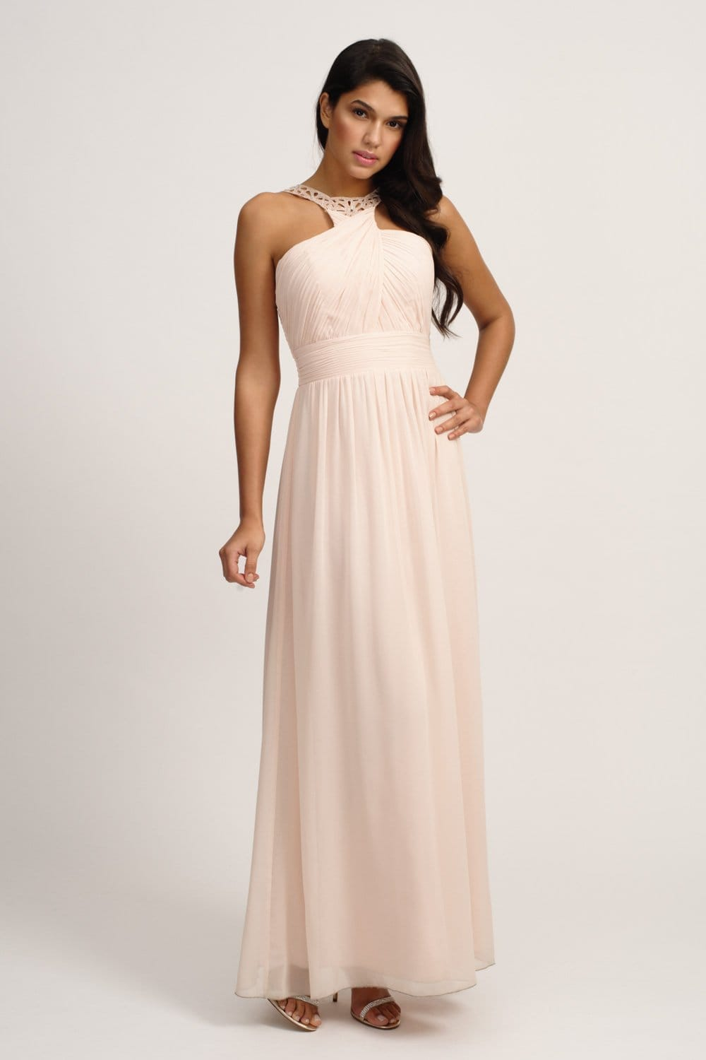 Nude Embellished Halterneck Maxi Dress