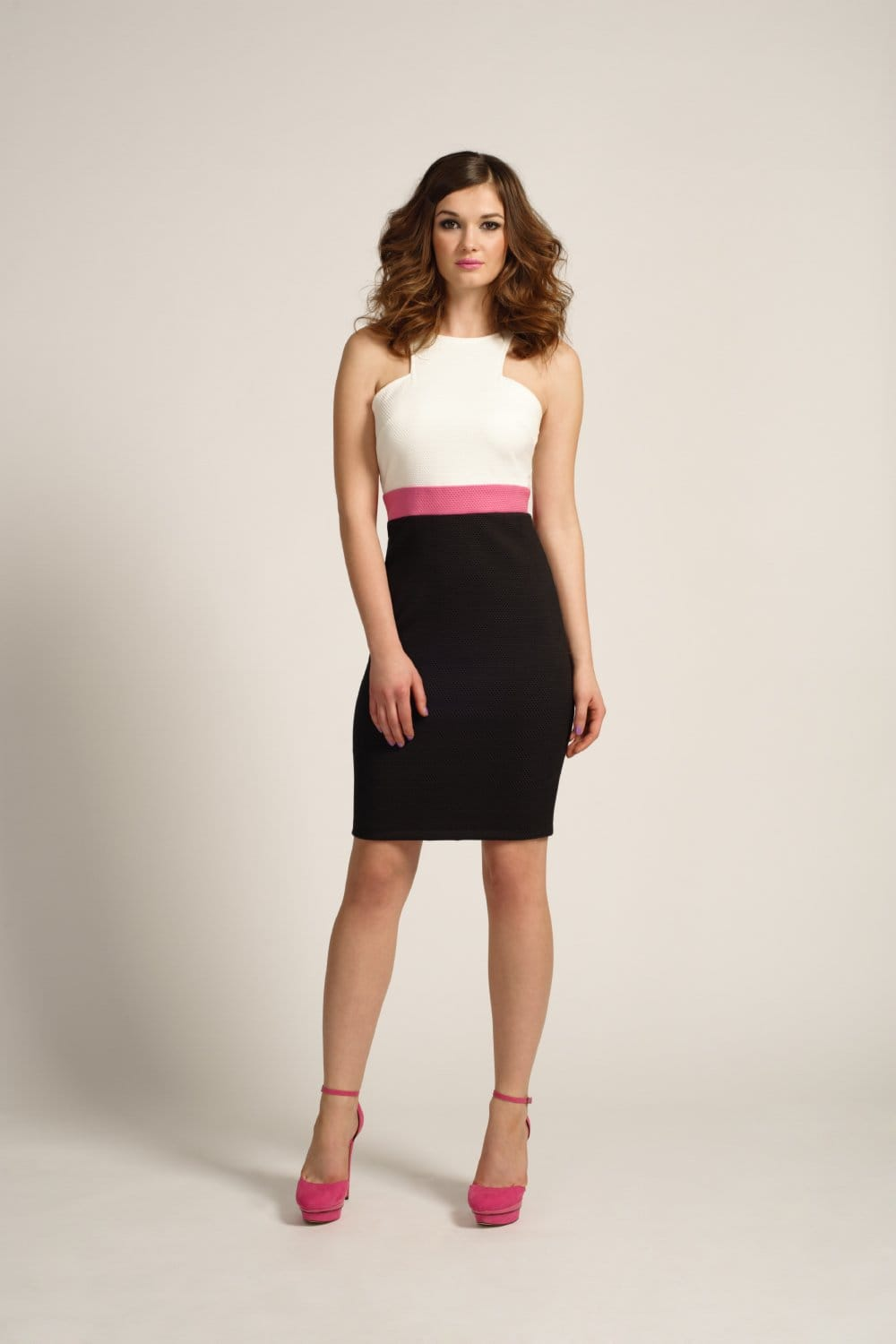 Outlet Paper Dolls White, Pink & Black Racer Front Bodycon Dress ...