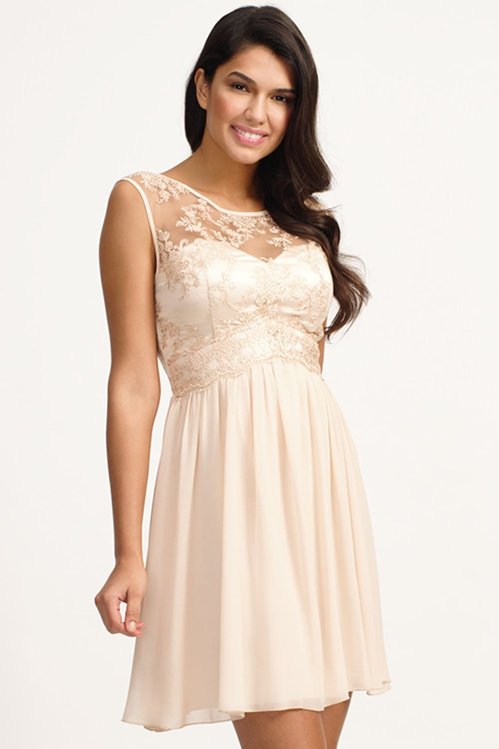 03ff591360c Cream Floral Lace Fit and Flare Dress - from Little Mistress UK
