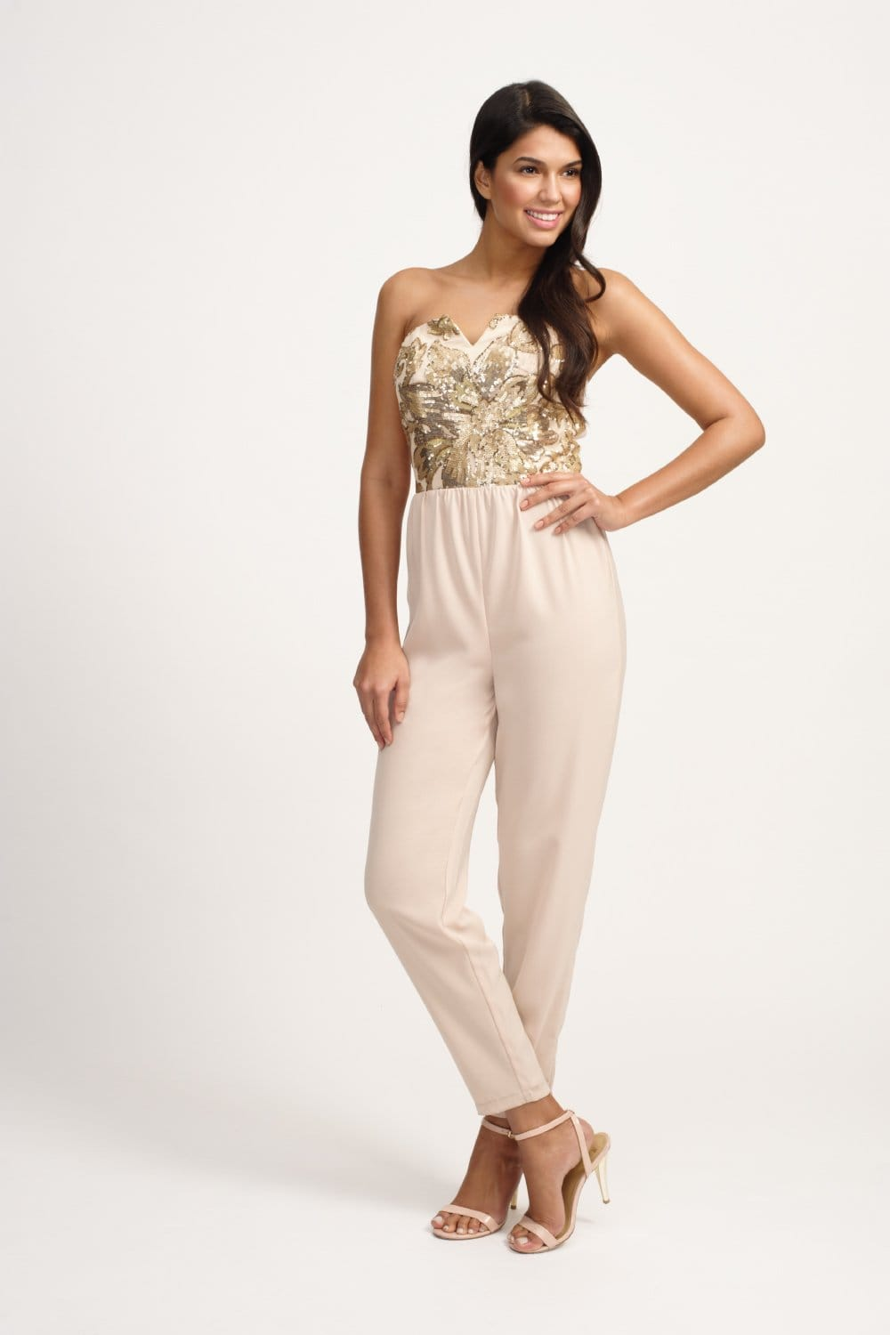 Cream Heavily Embellished Bandeau Jumpsuit From Little