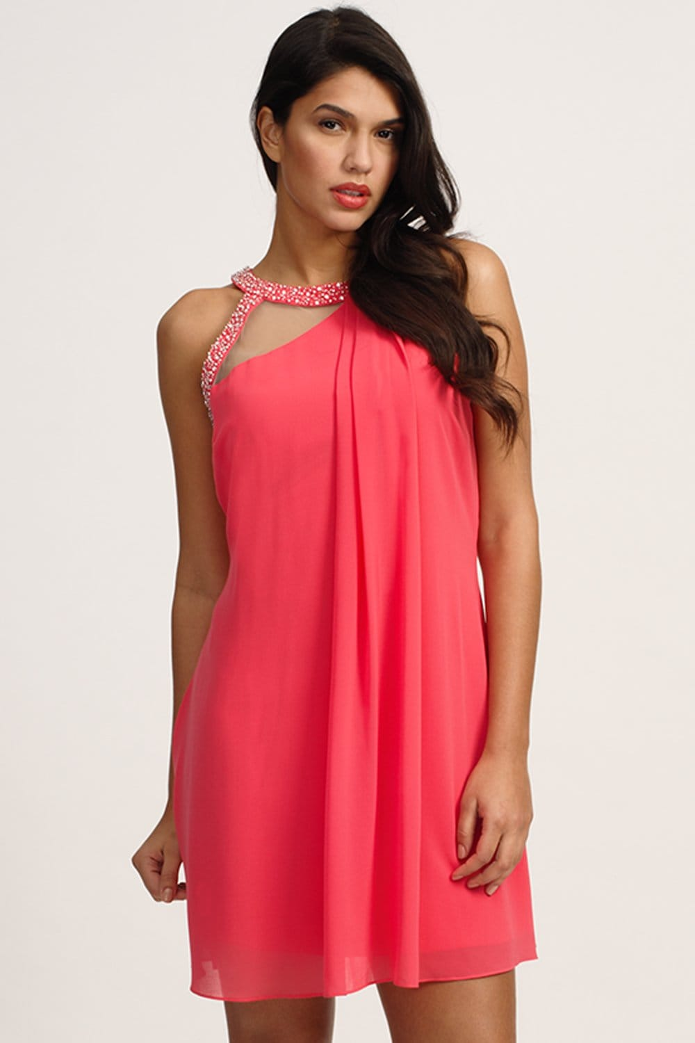 Coral Embellished Keyhole Shift Dress - from Little Mistress UK