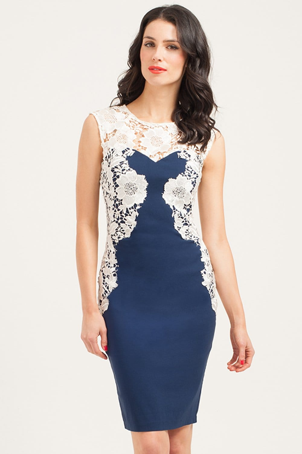 Outlet Paper Dolls Navy Amp Cream Mirrored Lace Bodycon