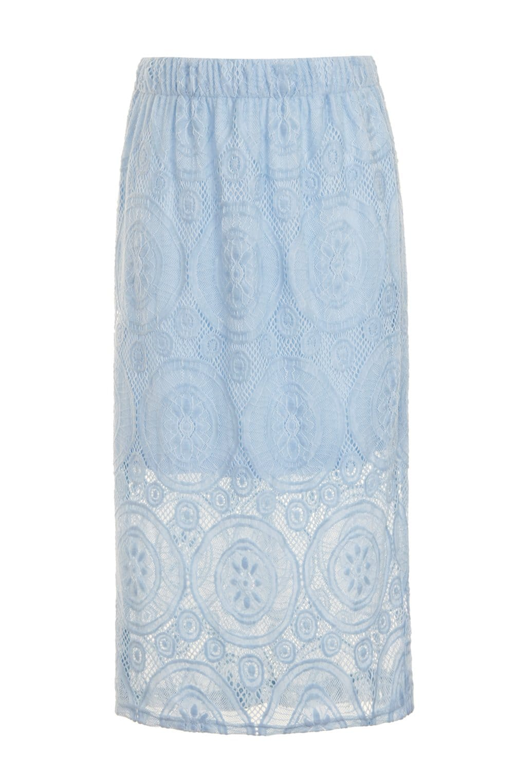 outlet on baby blue lace overlay midi skirt