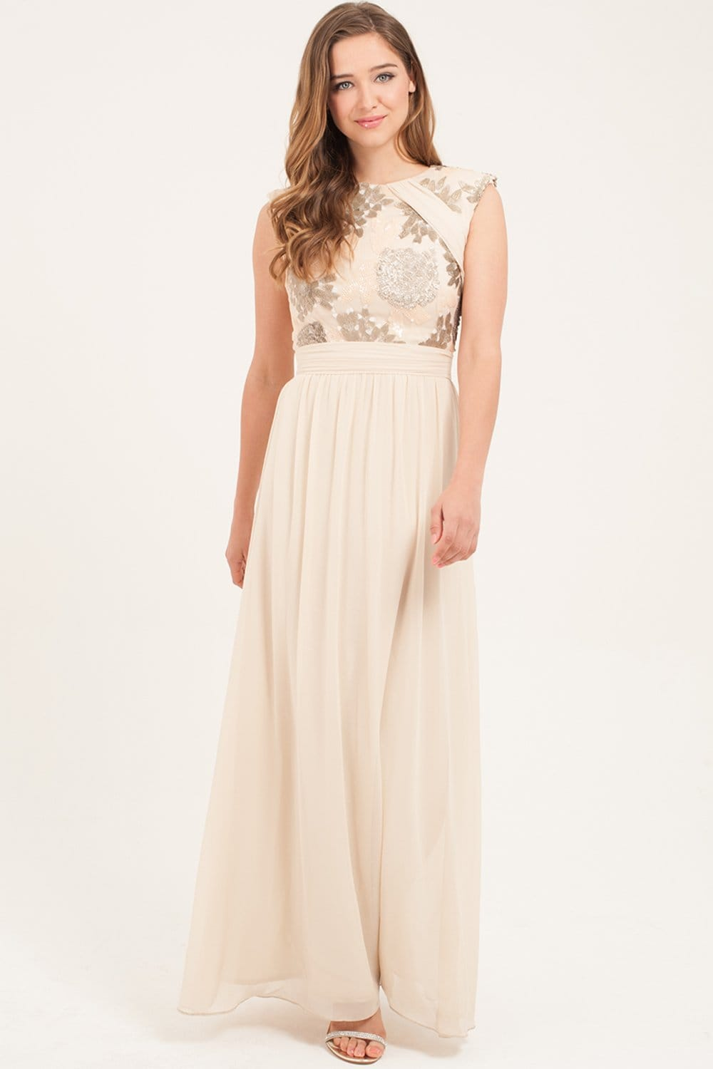 Cream Heavily Embellished Maxi Dress