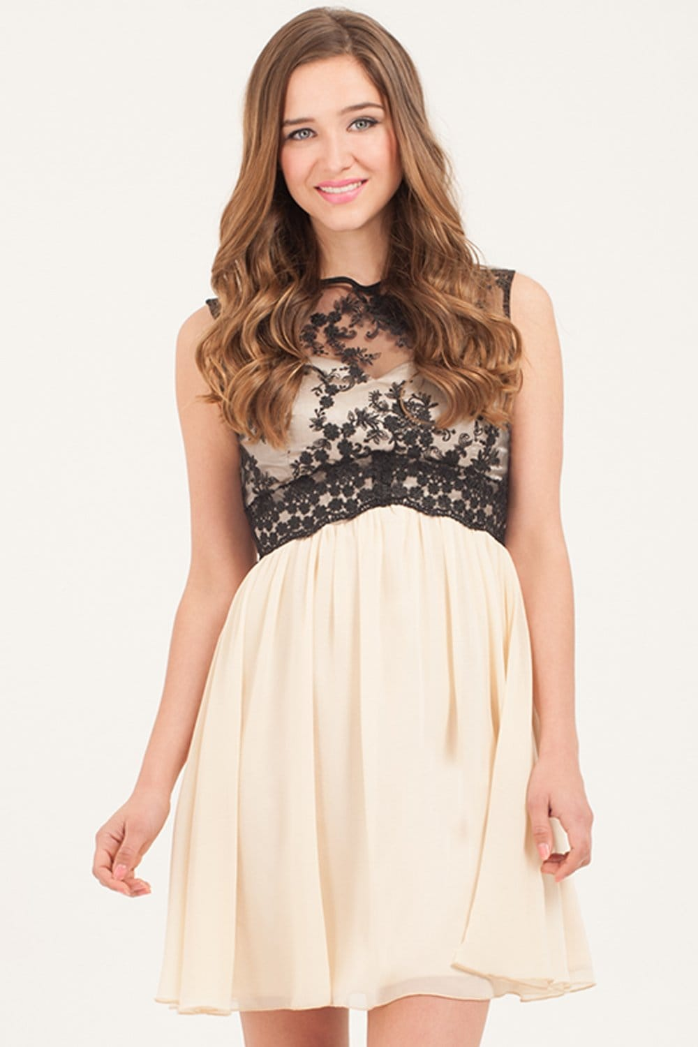 Little Mistress Cream & Black Contrast Lace Prom Dress
