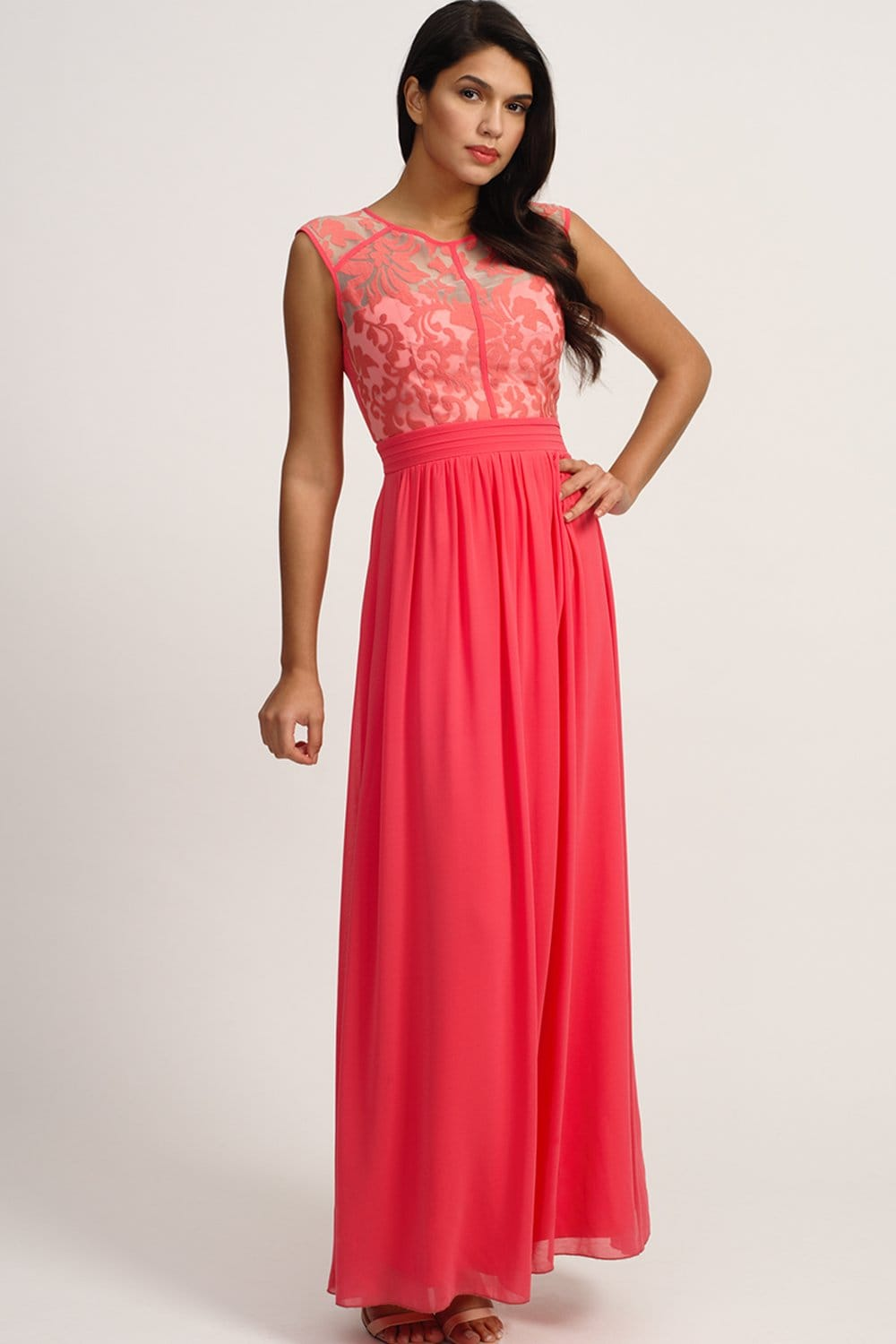 Little Mistress Coral Floral Flock Maxi Dress