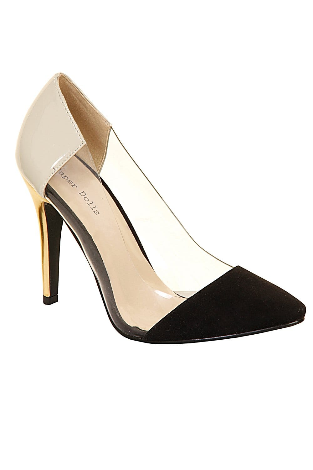 Outlet Paper Dolls Black &amp Cream Perspex Court Heel - Outlet Paper
