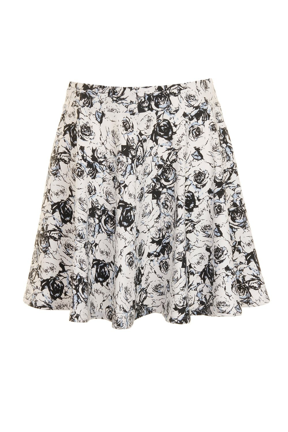 Outlet Girls On Film Black And White Floral A-Line Mini Skirt
