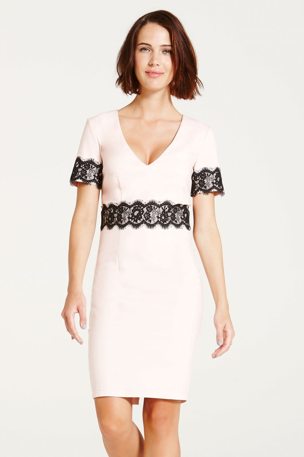 Outlet Paper Dolls Blush and Black Lace Trim Dress