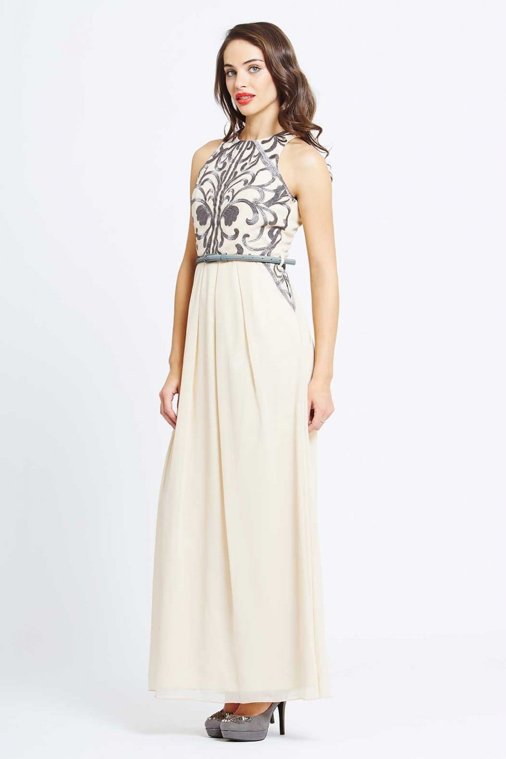 Little Mistress Cream Heavily Embellished Maxi Dress - Little ...