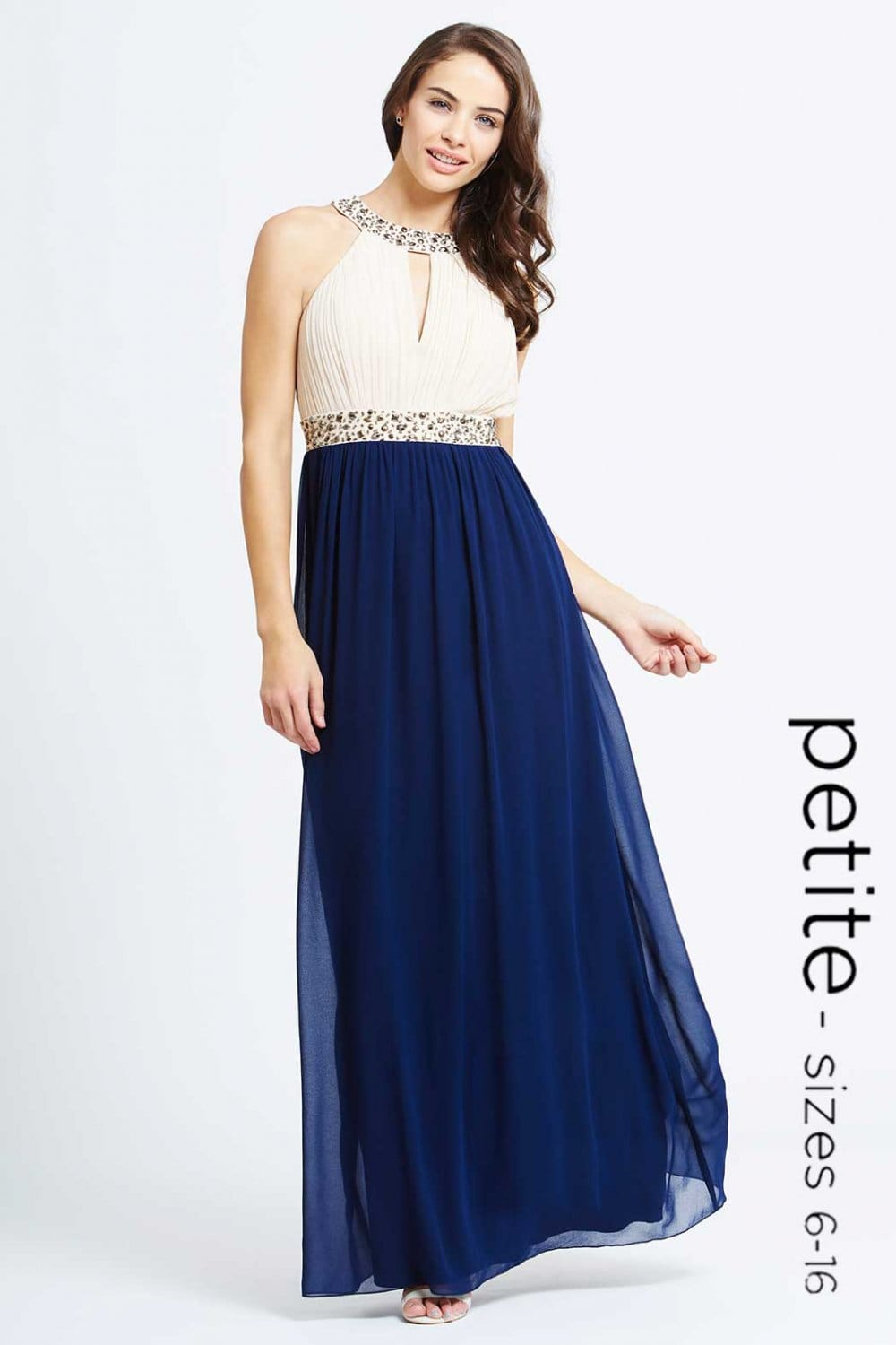 Petite Cream and Navy Embellished Chiffon Maxi Dress - Petite from ...
