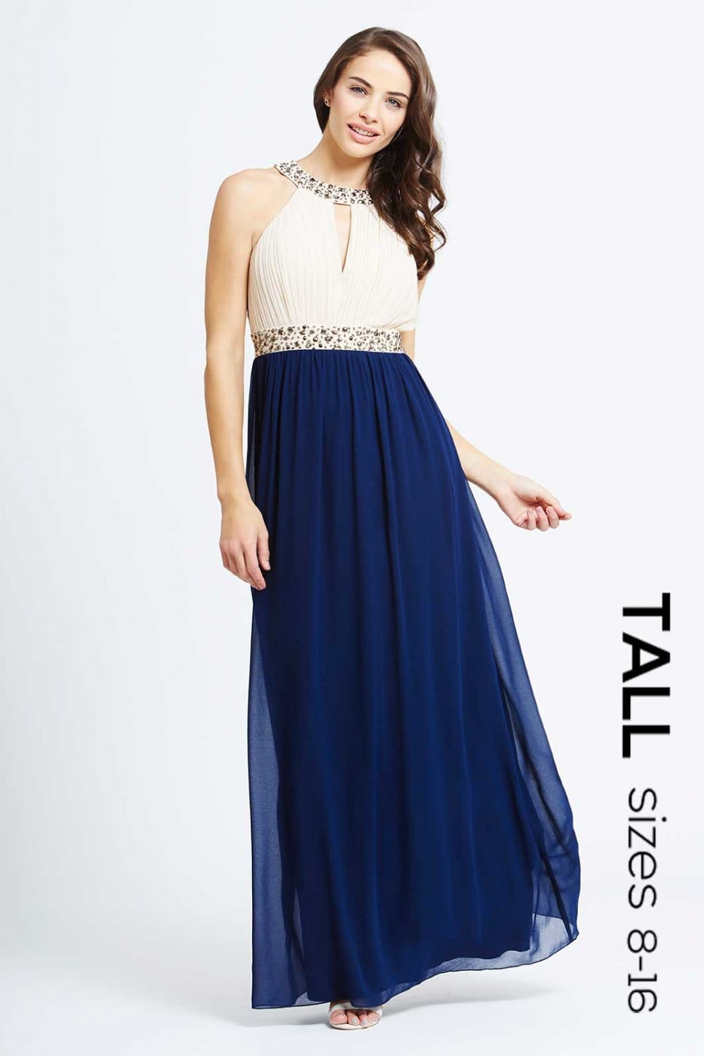 Tall Cream and Navy Embellished Chiffon Maxi Dress - Tall from ...