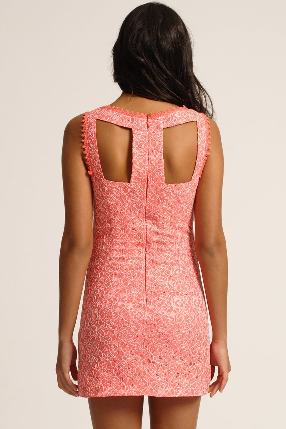 Coral Lace Overlay Shift Dress