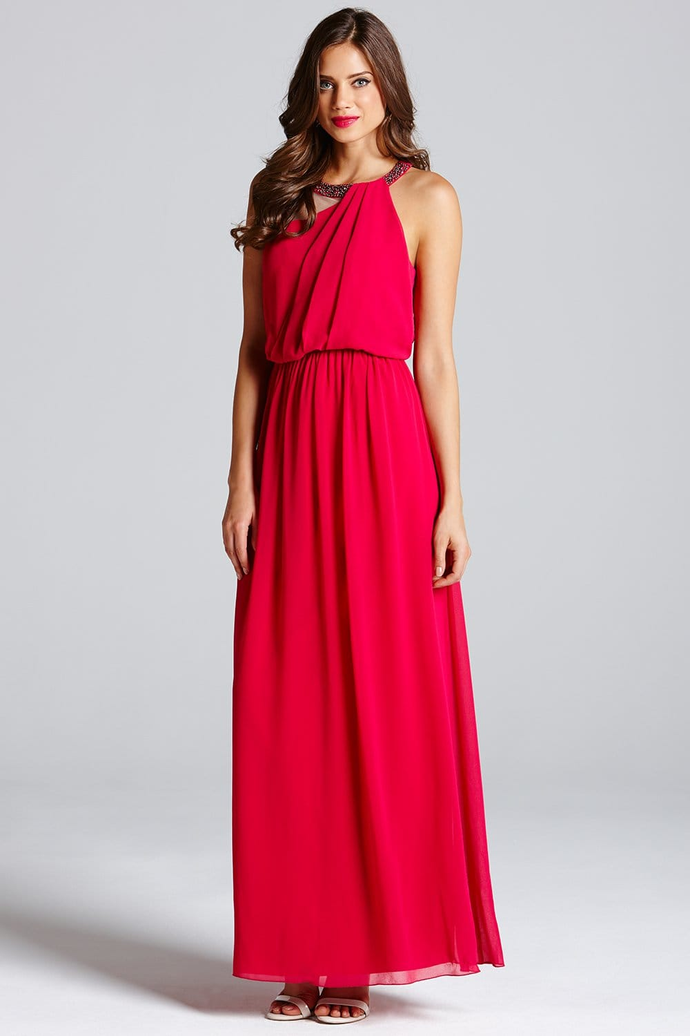 Little Mistress Hot Pink One Shoulder Drape Maxi Dress - Little ...